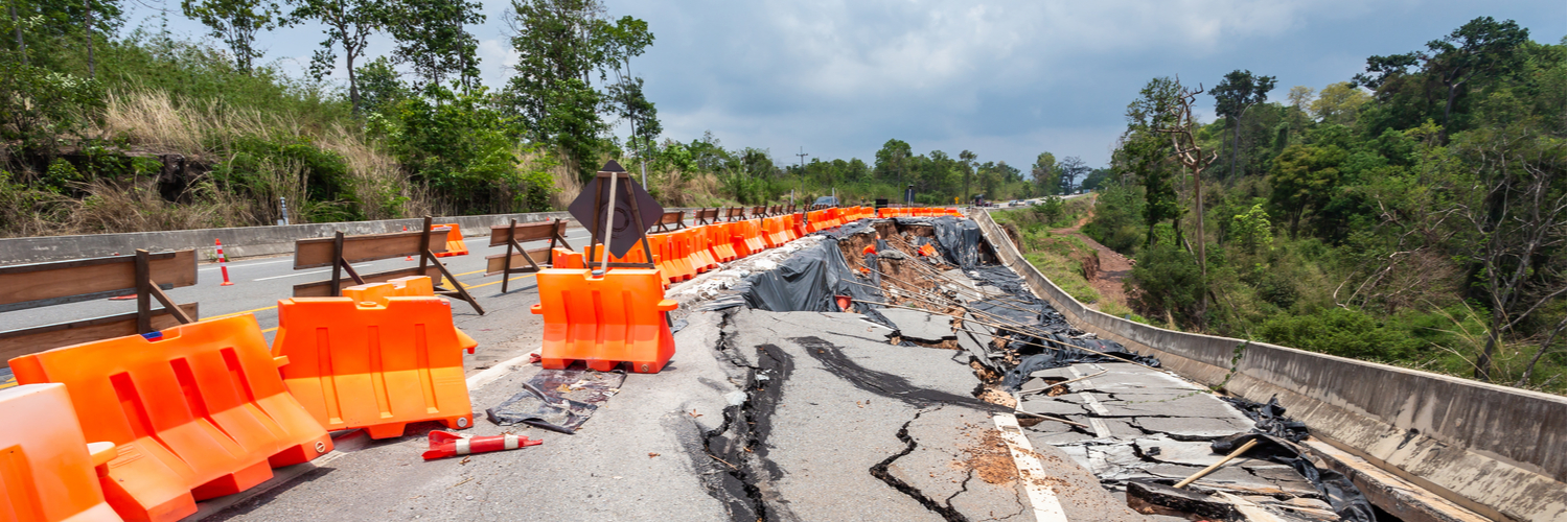 Road collapse after natural disaster