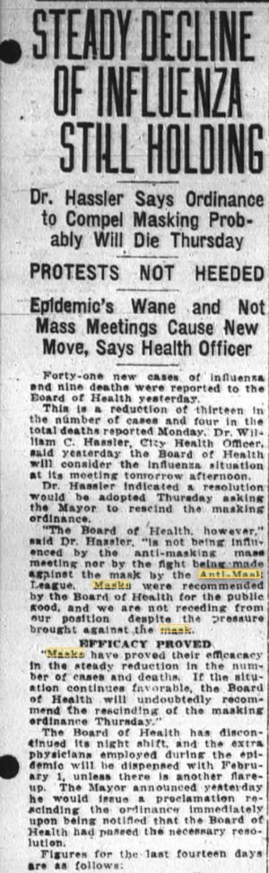 Masks and Infection Rate - SF 1918